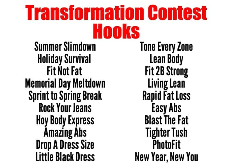 Transformation Contest Hooks